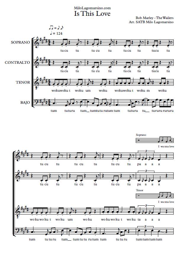 partitura para coro de bob marley